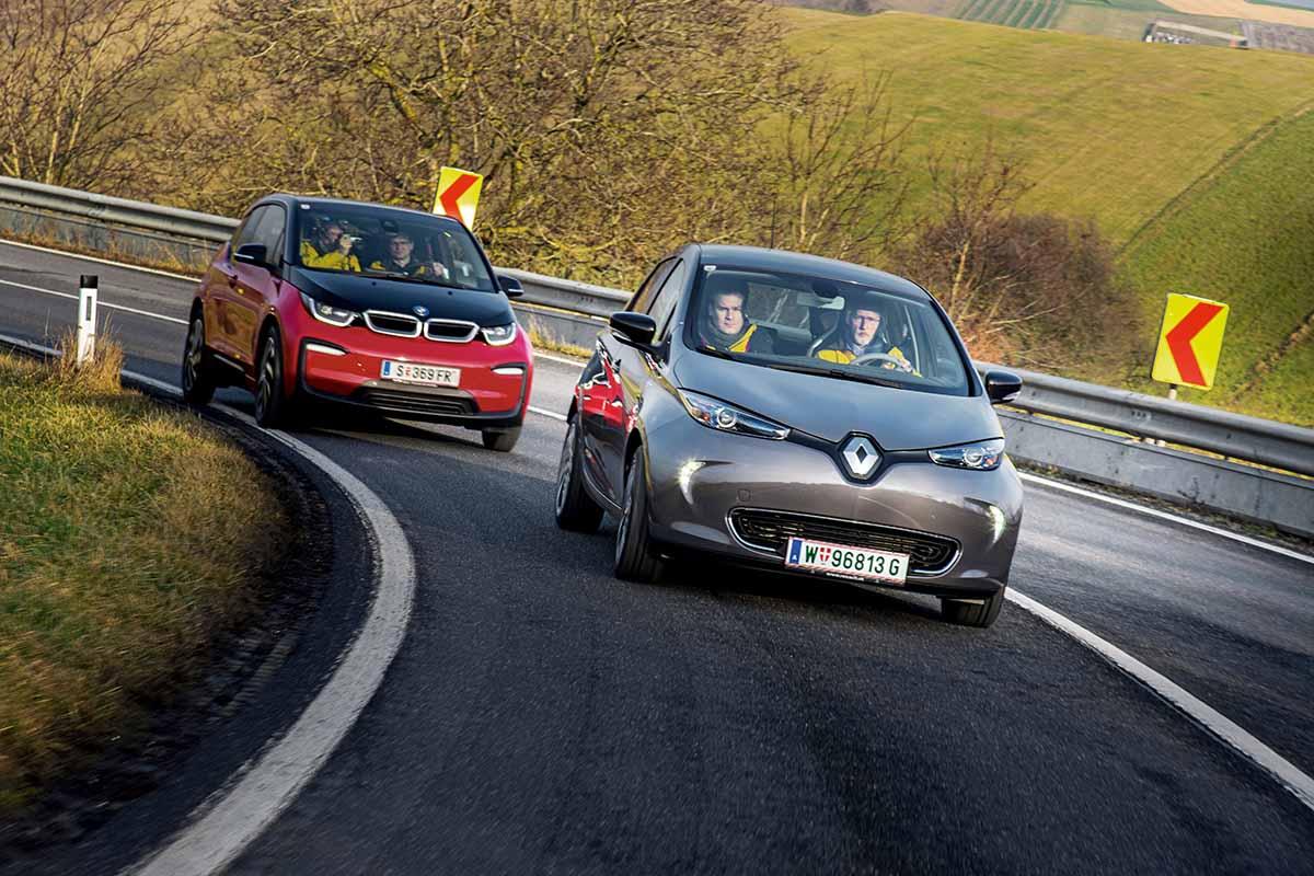 Reichweitetest Renault Zoe vs. BMW i3